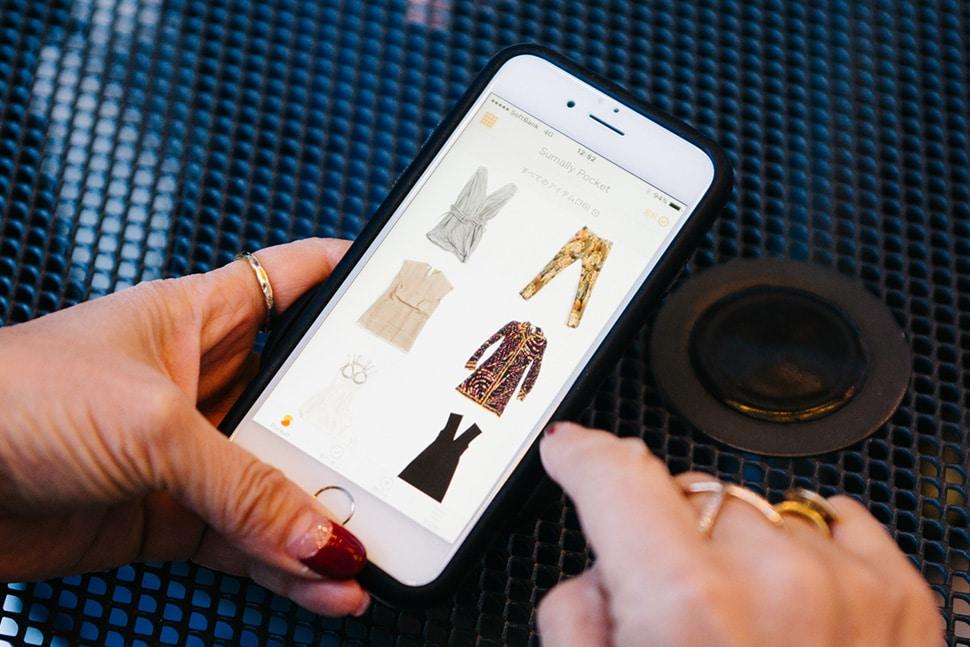 田中さんのPocket画面。素敵なお洋服でいっぱいでした…!