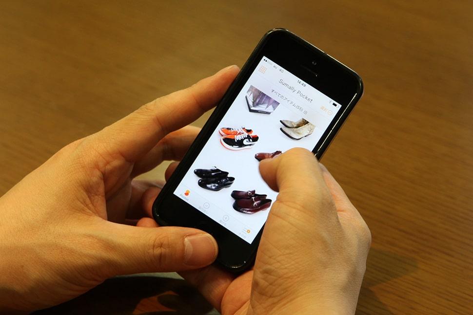 平野さんのPocket画面。マックイーンのスカルモチーフなど、残しておきたいという洋服の他、靴も多数。